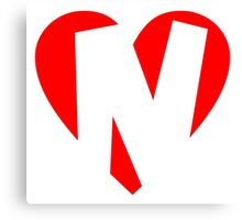 I love N - Heart N - Heart with letter N Canvas Print