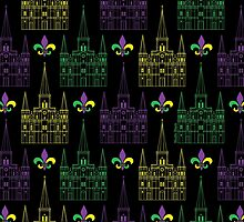 Mardi Gras St. Louis Cathedral Pattern by StudioBlack
