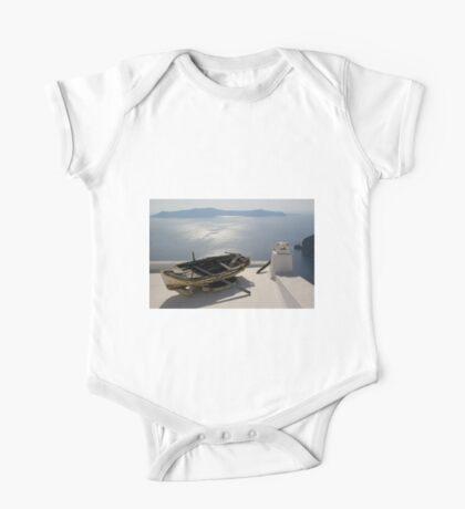 Boat in Santorini One Piece - Short Sleeve