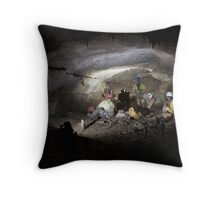 Meal stop in gallery forty-two, Dent De Croll plateau cave system, south eastern France. Throw Pillow