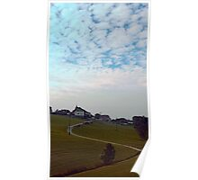 Scenery with clouds, a hill and nothing particular | landscape photography Poster