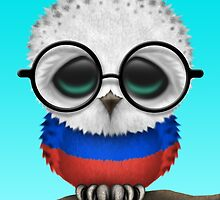 Nerdy Russian Baby Owl on a Branch by Jeff Bartels