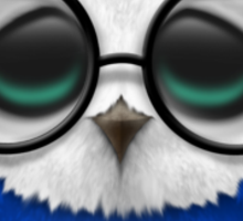 Nerdy Russian Baby Owl on a Branch Sticker