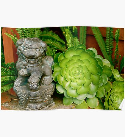 Asian Figure in Succulent Garden Poster