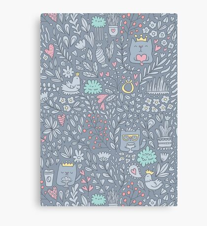 Doodle cats and flowers Canvas Print