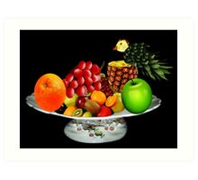 DELICIOUS PLATE OF FRUIT WITH PINEAPPLE BIRD-- PICTURE AND OR CARD Art Print