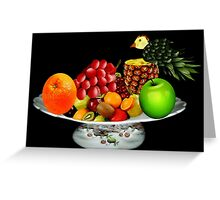 DELICIOUS PLATE OF FRUIT WITH PINEAPPLE BIRD-- PICTURE AND OR CARD Greeting Card