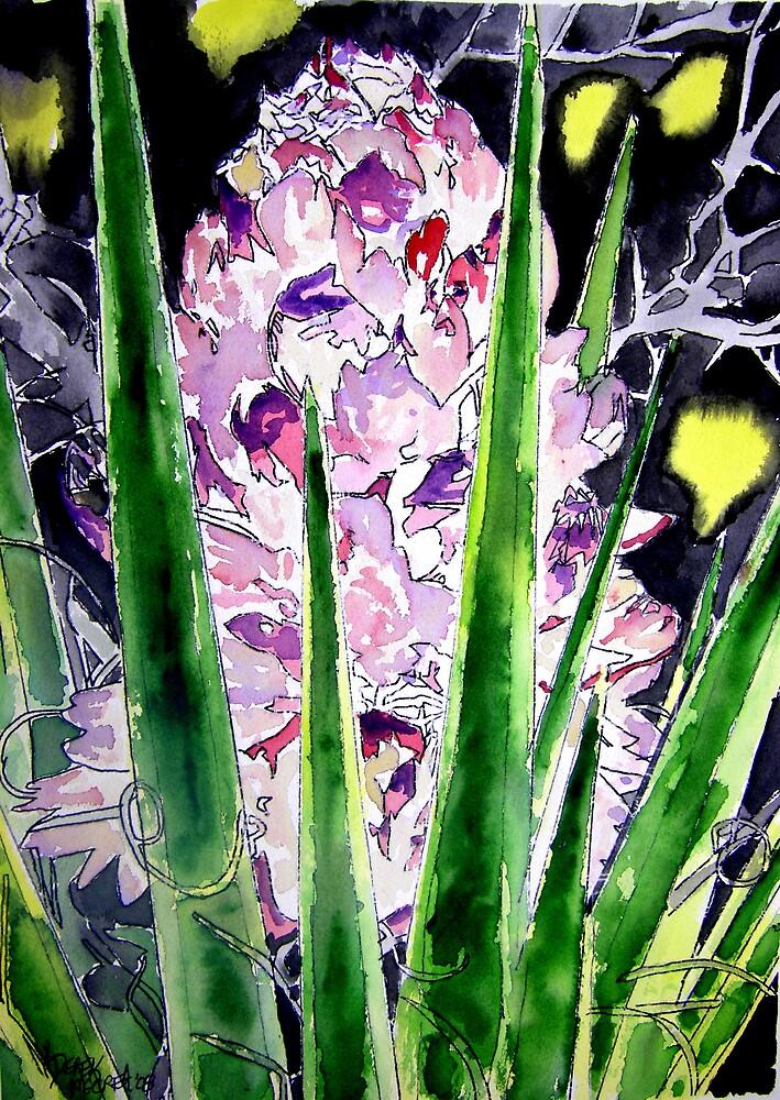 yucca flower watercolor painting art print by derekmccrea