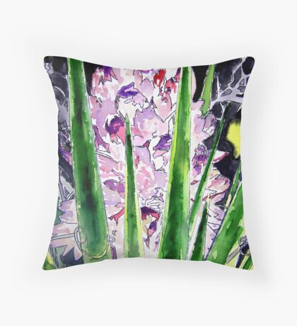 yucca flower watercolor painting art print Throw Pillow