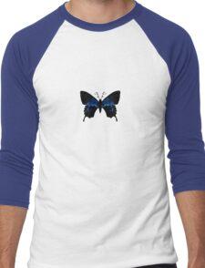 Tribally Blue Butterfly Men's Baseball ¾ T-Shirt