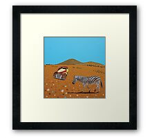 Landscape with Zebra Framed Print