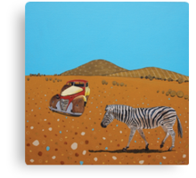 Landscape with Zebra Canvas Print