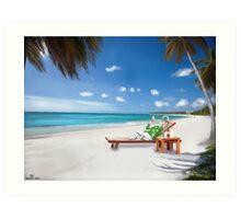 Corky's sunbathing Art Print