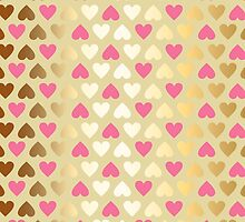 Faux Gold & Pink Hearts  by Perrin Le Feuvre