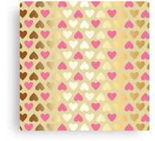 Faux Gold & Pink Hearts  Canvas Print