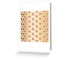 Faux Gold & Pink Hearts  Greeting Card