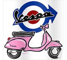 Vespa LX scooter pink Poster