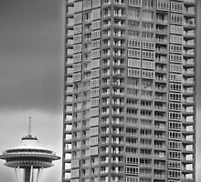 Seattle Space Needle and High Rise by Stacey Lynn Payne