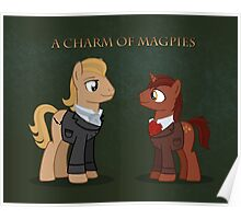 Charm of Magpie pony art on green Poster