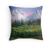 Rockies wilderness oil painting Throw Pillow