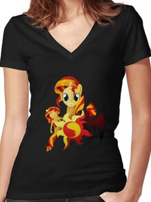 3 Forms of Sunset Shimmer Women's Fitted V-Neck T-Shirt