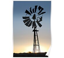 Failing Windmill at Sunset Poster