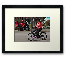 Young Korean Girl Learning to Ride a Bike Framed Print
