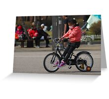 Young Korean Girl Learning to Ride a Bike Greeting Card
