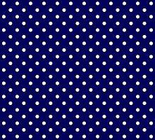 Navy Blue and White Spotty Polka Dot Pattern by TigerLynx