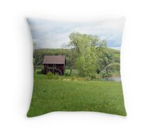 Old Mill with pond Throw Pillow