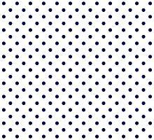 White and Navy Blue Polka Dot Pattern by TigerLynx