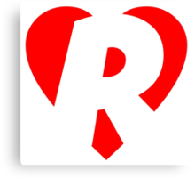 I love R - Heart R - Heart with letter R Canvas Print
