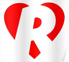 I love R - Heart R - Heart with letter R Poster