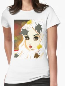 Autumn girl with white hair Womens Fitted T-Shirt