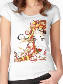 Autumn Girl face 5 Women's Fitted Scoop T-Shirt