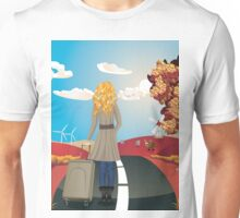 Autumn Landscape with Girl Unisex T-Shirt