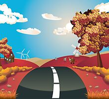 Autumn Landscape with Road by AnnArtshock