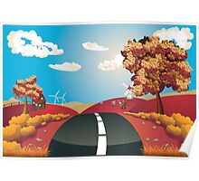 Autumn Landscape with Road Poster