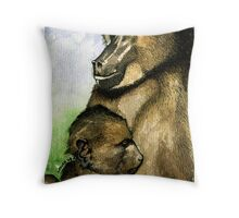 Mother and Child - Chacma Baboons Throw Pillow