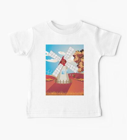 Autumn Landscape with Windmill Baby Tee