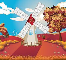 Autumn Landscape with Windmill by AnnArtshock