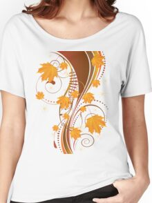 Autumn floral ornament with orange maple leaves Women's Relaxed Fit T-Shirt