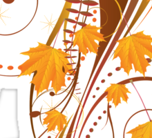 Autumn floral ornament with orange maple leaves Sticker
