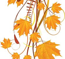 Autumn floral ornament with orange maple leaves 2 by AnnArtshock