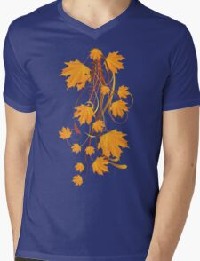 Autumn floral ornament with orange maple leaves 2 Mens V-Neck T-Shirt