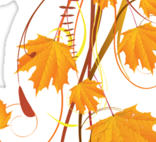 Autumn floral ornament with orange maple leaves 2 Sticker