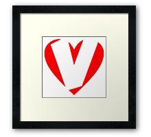 I love V - Heart V - Heart with letter V Framed Print
