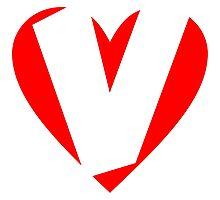 I love V - Heart V - Heart with letter V Photographic Print