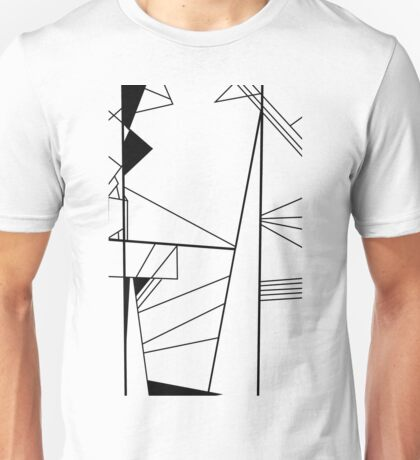 Shard abstract minimalist vector art in black and white Unisex T-Shirt