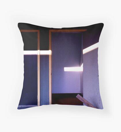 Blue doors with sunlight Throw Pillow
